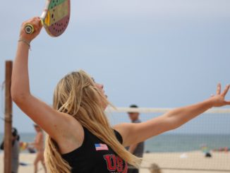 Sophomore Lexi Howard plays beach tennis. She has been playing the sport for a year and has attended many tournaments.