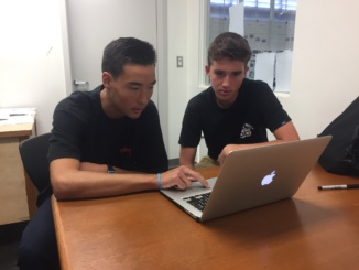 : Costa seniors Jack McGrail (left) and Kade Barr purchase Supreme clothing online to resell. The students find and sell clothing to customers using their eBay and Instagram.