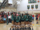 (Above) The girls volleyball team begins to cheer before their best of 5 set series begins. The Mira Costa girls volleyball team was defeated by Loyola Marymount High School, 3-1, at Loyola on Tuesday.