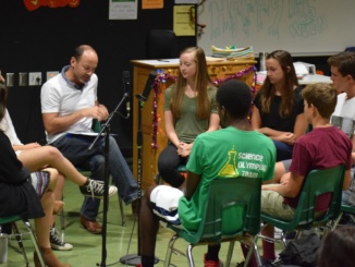 Mira Costa English Department Co-Chair Jonathan Westerberg discusses stress with students at the Oct. 19 Fishbowl activity. The event took place in the drama room, where parents and staff members attended to listen to what the students had to say.
