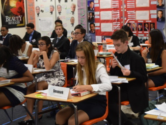 Model UN delegates prepare for their debates at Edison High School on October 18, 2016 in order to try and earn an award. They held conversation before they began their debate.