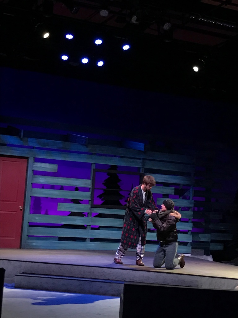 Senior Cameron Planka and junior Tiffany Smith rehearse a scene together.