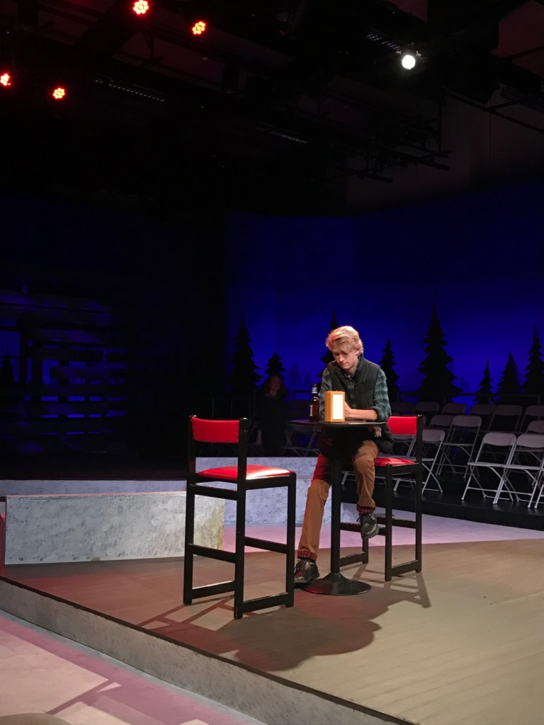 Senior Connor Tree sits down to rehearse his scene.