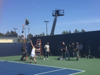 Nagy poses during her USTA commercial shot. The Commercial aired internationally during the US open from August 29th to September 11th. (Courtesy of Lena Nagy)