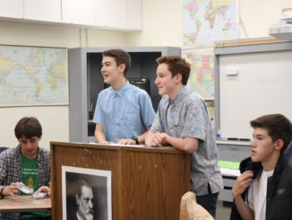 Costa sophomores Max Moseley and Josh Gurgone lead the Political Debate Club meeting on October 31, 2016. The club discussed gun control and let other students have their input on the topic.