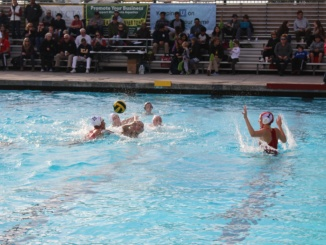 Senior attacker Leigh Lyter shoots the ball from just outside the goal in the second quarter of Costa's 7-4 loss to Los Alamitos. Lyter would score on her powerful shot, which tied the game up at 3, and gave the Mustangs momentum to score one more.