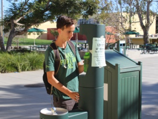 Junior Xavier Court uses a new water fountain. The fountain was installed in order to encourage the use of reusable water bottles at Mira Costa.