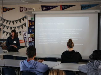 Clinical Outreach Director Christine MacInnis talks about student stress in the College and Career Center during Office Hours. MacInnis talked about many different aspects of student stress, such as how students can cope with it and the main causes of it.