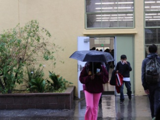 Costa students walk to and from the cafeteria after the lunch bell rings on Thursday. This week has been a rough week for on campus transportation due to pouring rain.