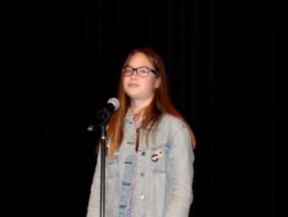 "Katherine Elias performing ""Personal"" by Tony Hoagland.  Elias placed third overall in the competition behind Senior Anthony Olivas and Jnior Annika Hanson."