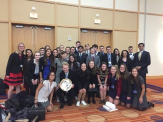 The Mira Costa High School Model United Nations program celebrate after winning the best large delegation at a conference in Baltimore, Maryland. 32 students attended the advanced conference, where Costa placed very well compared to other advanced conferences throughout this year.  Reproduced with the permission of Judi Walley