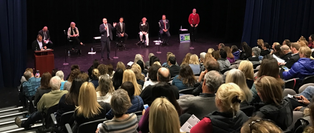 Seven of the eight City Council candidates speak at the City Council Candidates forum in the Costa small theater. Residents were able to ask candidates questions before the March 7 election.
