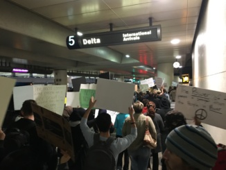 Protestors at LAX on the evening of Tuesday, January 31st. Photo courtesy of Abby Baker.