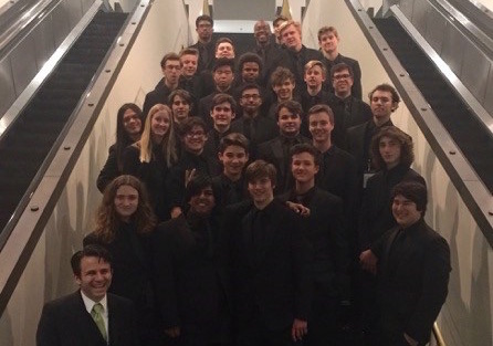 The Mira Costa Jazz Band poses for a photo at the Berklee High School Jazz Festival. They won second place in the large ensemble division for their performances. Reproduced with the permission of Dave Jha.