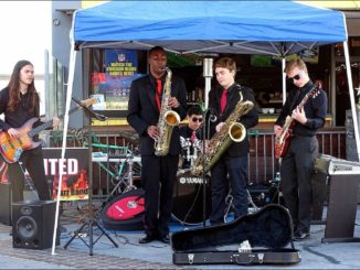 Courtesey of Hunter Cross Ignited Jazz band performs at the Hermosa Beach Farmer's Market for entertainment on January 4, 2017. Cross(2nd from right) plays the baritone saxophone for the band. Cross also plays the saxophone in Mira Costa's school band.