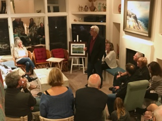 "Pictured above is a group of Manhattan Beach locals at ""Local Artist's Night"" listening to artist Mario Mirkovich discuss his work. The event was hosted by Leadership Manhattan Beach. Photo by Danielle Smith/La Vista."