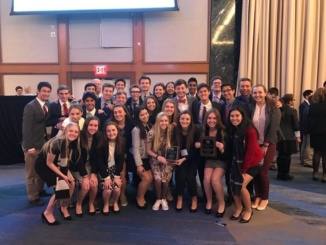 Students of the Mira Costa Model United Nations Program celebrate shortly after their conference finishes. Mira Costa won Best Large Delegation at the NHSMUN conference.(Reproduced with the permission of Sandi Nerad)