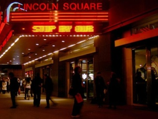 The AMC Loews Lincoln Square theatre as seen from its front entrance on Broadway street. The theatre has been a staplepoint on this New York City street for several decades. Photo courtesy of Cinema Treasures.