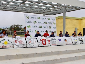 Ten Costa athletes sign the National Collegiate Athletic Association document today during lunch. Students officially committed to play their sports in college. (Kendal Rohm/La Vista)