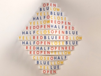 "Pictured above is a piece on display at ""Concrete Poetry: Words and Sounds in Graphic Space"" called ""Open"" by Augusto de Campos and Julio Plaza. Photo courtesy of getty.edu."