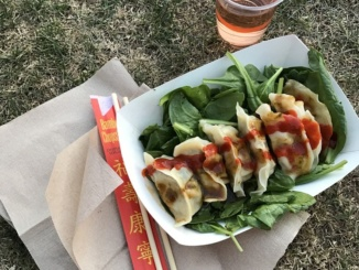 """Bling Bling Dumplings"" is one of the many food vendors at the 2017 Coachella Music Festival. They featured unique tastes, fresh flavors, and a diverse menu, making it one of Coachella's most delicious stands. Courtesy of LA Weekly."