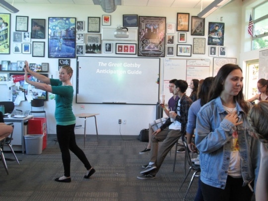 """Mira Costa Juniors in Mrs. Cook's Honors English class participate in a Great Gatsby """"Anticipation Guide"""", in which the students have to decide whether they agree or disagree with certain controversial statements. The students in this class recently began their unit on the infamous 1920′s novel by F. Scott Fitzgerald."""