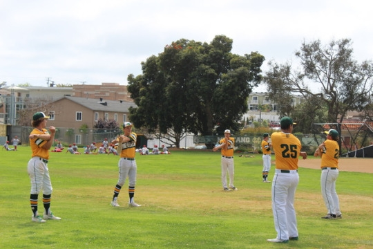 Costa's Varsity baseball team warms up on Thursday at home against Redondo for the Bay League Champ title. The Mustangs pulled through and beat Redondo 6-2.