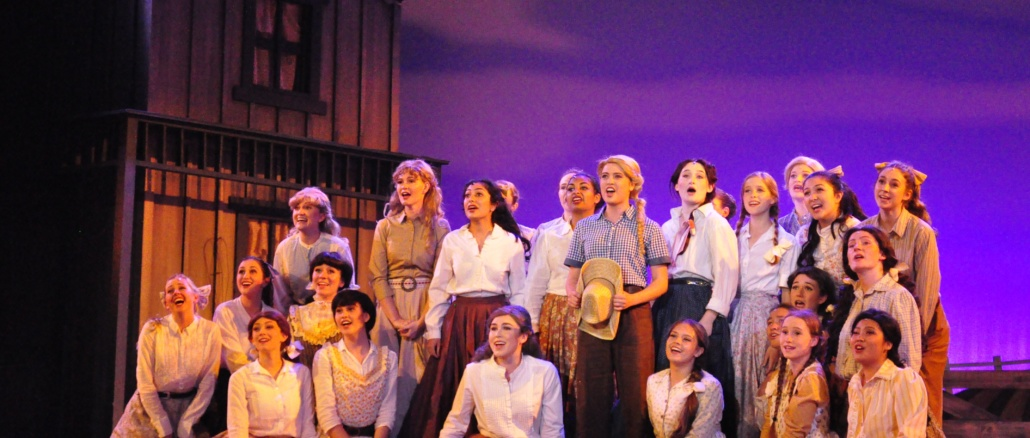 "The cast of ""Oklahoma!"" performs a scene from its spring play that opened on April 21 in the Costa auditorium. The cast performed scenes from the play at the 6th-annual Jerry Herman High School Musical Theatre Awards on Monday at the Pantages Theatre. (Jordyn Tonne/La Vista)"