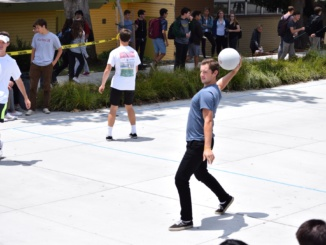 "Senior Matt Besera winds up to throw a dodgeball in preparation for the finals on Monday June 5 in the Mustang Mall. His team, ""Extremely Slightly,"" won the finals 6-0."