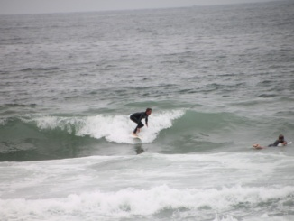 Sophomore Alex Fry surfs a big wave on May 18 at a Regional Surf Competition. Fry had a terrific showing in the competition, qualifying for nationals with a third place finish.