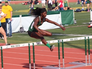 Four participants from the Mira Costa Track team place at the 2017 CIF State Championships on Saturday, June 3rd at Clovis High School. Shante Robinson (above) jumped over hurdles in a race.