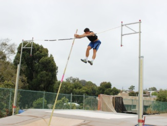 Senior Dane Thompsson clears the bar at practice on May 26 at Costa. Thompsson made it to Masters but ultimately was unable to make it to State
