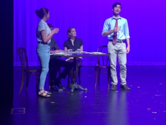 """Seniors Isabel Gray and Antonio Sellito perform in """"I Love You, You're Perfect, Now Change"""" in the 2017 Senior Scenes. The Senior Scenes were the Mira Costa Drama Department's final production for the 2016-2017 school year, and allowed seniors to direct their own scenes."""