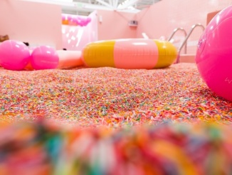 The sprinkle pool at The Museum of Ice Cream holds thousands of plastic sprinkles. The Museum of Ice Cream was open for multiple months in the Arts District of Downtown Los Angeles. Photo courtesy of LA Weekly.