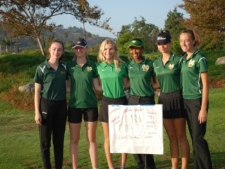 (From left to right) Seniors Phoebe Gunn and Delilah Gunn, sophomores Isabella Walker and Shani Waite, junior Klara Nagy, and sophomore Erica Skinner. The Mustangs placed third in the three-person division at the South Bay Girls Golf Classic Tournament at Los Amigos Golf Course on Friday.