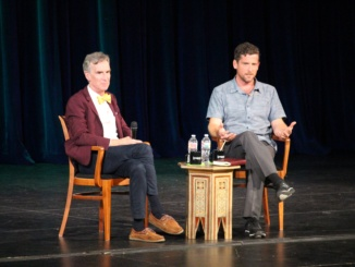 Bill Nye and Gregory Mone speak about their new book series in the Mira Costa auditorium on Wednesday. They came to Costa to promote their new book series and sign copies for students who purchased the book.