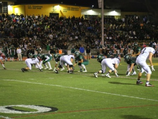 (Right Corner) The Costa offense and junior quarterback Reed Vabrey prepare for the snap. The Mira Costa football team was defeated by St. Francis High School, 48-21 at St. Francis High School on Friday.