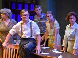 """Actors and actresses from Mira Costa High School's Drama Department preform """"12 Angry Jurors"""" in the small theater. The play featured 14 students. Courtesy of Mira Costa Drama's Facebook."""