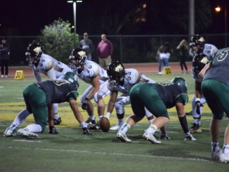 Junior linebacker Koda Thormodsgaard (Right) prepares to blitz in during a defensive play. The Mira Costa football team was defeated by South Hills at South Hills High School, 40-18, on Friday.