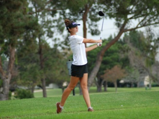Junior Klara Nagy tees off. The Mira Costa Girls Golf team crushed West Torrance High School by an overall score of 210-224 at Chester Washington Golf Course on Tuesday.