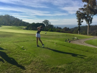 Junior Klara Nagy hits a drive off the tee. The Mira Costa Girls Golf team fell to Peninsula High School by a total score of 206-219 at Palos Verdes Golf Club on Tuesday.