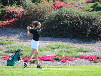 Sophomore Erica Skinner follows through on a shot off the tee. The Mustangs defeated the Panthers 203-219 to win the Bay League Championship on Thursday.