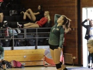 Junior setter Malea Stanton jumps to serve the ball in a road game against Palos Verdes. The Mustangs lost in straight sets to Redondo on Tuesday, causing them to finish second in Bay League.