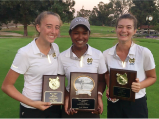 (Left to right) Sophomores Erica Skinner and Shani Waite, and junior Klara Nagy pose with Bay League trophy. The Mira Costa Girls Golf team defeated South Torrance High School, 206-243, in Bay League Finals at Harding Golf Course on Wednesday.
