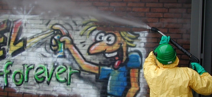 Photo of workers cleaning graffiti in Los Angeles. The BPBA hopes to pursue similar projects in the future. Photo courtesy by www.AllClean.ba