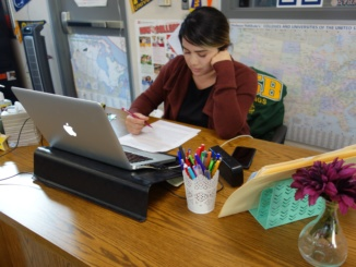 The CCC's new evening counselor Ruthie Robles works on paperwork in the CCC. Robles was hired on Oct. 11 after the previous counselor left due to personal reasons.