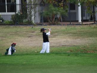 Costa junior Klara Nagy tees off. Last Thursday, girls golf fell short in the CIF Individual Finals at River Ridge Golf Club.