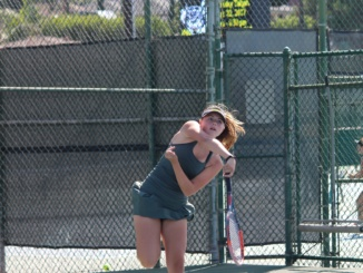 Freshman Lucy Fiorito, serves a ball in a past game at Costa. On Wednesday, Costa girls tennis defeated Cate High School 12-6 in the first round of CIF Playoffs at Cate High School.