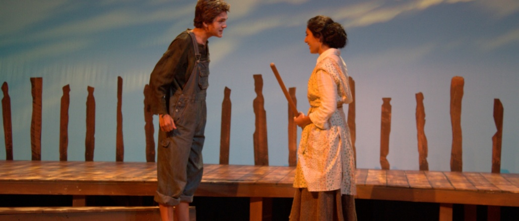 "Sophomore Tucker St. Ivany (left) and senior Ariana Derambaskhsh perform a scene from the Costa Drama Department's play. ""The Diviners,"" which opened on Nov. 3 in the small theater."