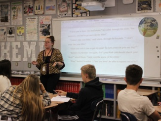 Ms. Hutchinson teaches her sophomore english class. She organized link crew and organized this event.